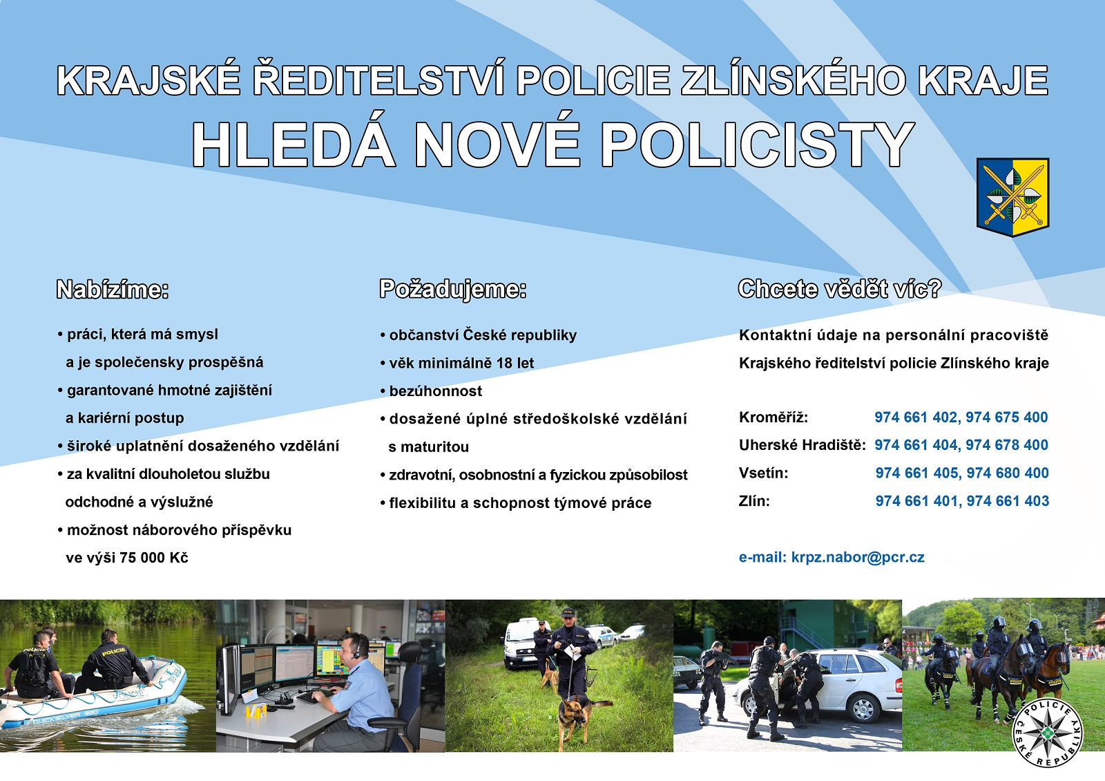 Krajské ředitelství policie Zlínského kraje hledá nové policisty